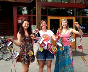 beer can bunting at the New Belgium brewery in Ft. Collins