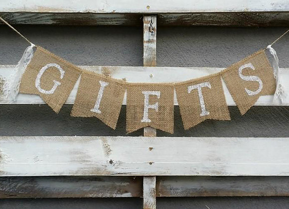 Gifts Burlap Banner, $5