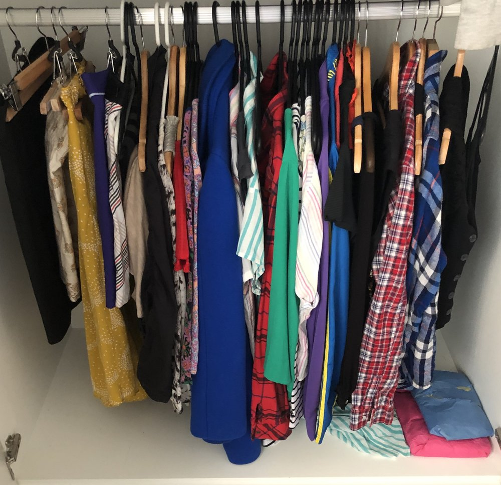 These are my only hanging clothes - Plus, 5 pairs of pants, 25 shirts, 8 sweaters, 5 sweatshirts, 3 pairs of sweatpants, 4 pairs of shorts and workout clothes that are being put to the test!