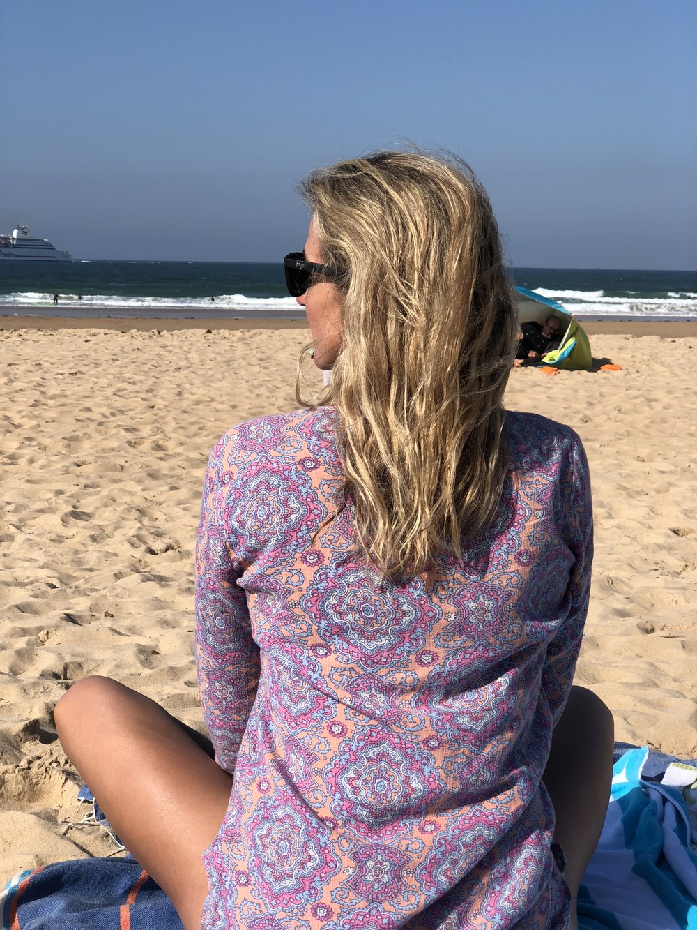 Taking a moment - To watch my family and the surf before jumping in myself.