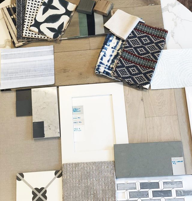 Wallpaper and fabrics and tile, oh my!! Picking out the perfect combination for our next project! *——- follow link in bio to check out webpage