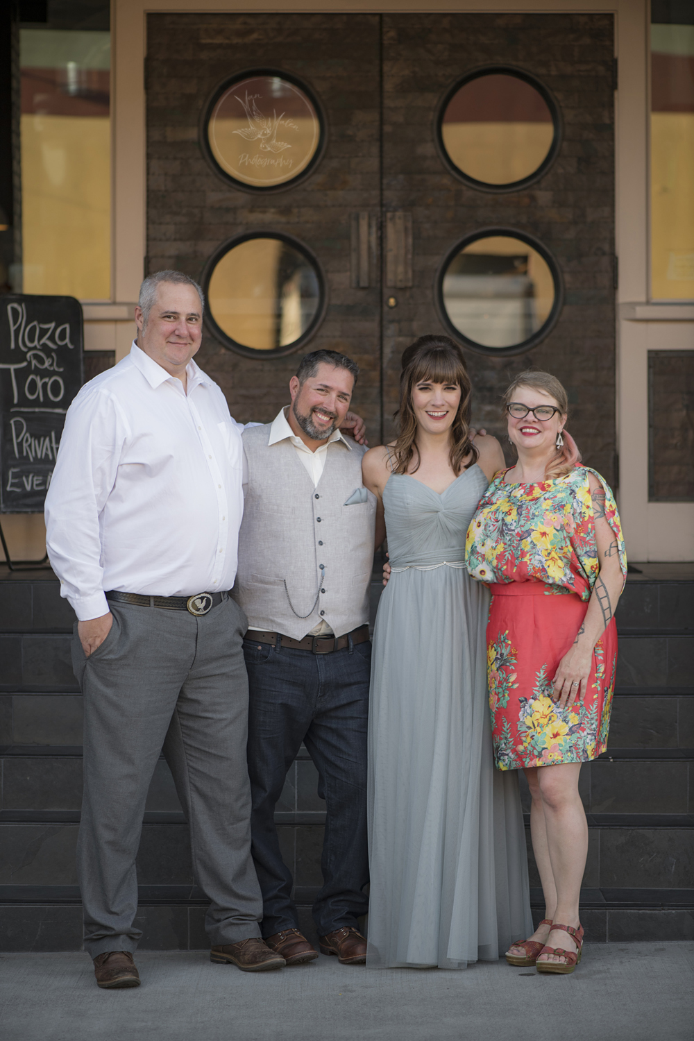 Officiant, the happy couple, and the photographer. Friends, couples, and bowling team extraordinaire!
