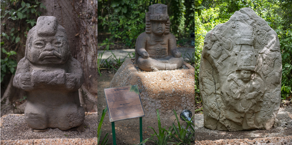 One of the smaller Olmec statues, nicknamed The Child; The Governor; and I'm pretty sure that third statue, that relief, shows a king playing field hockey. #TotallyLegit