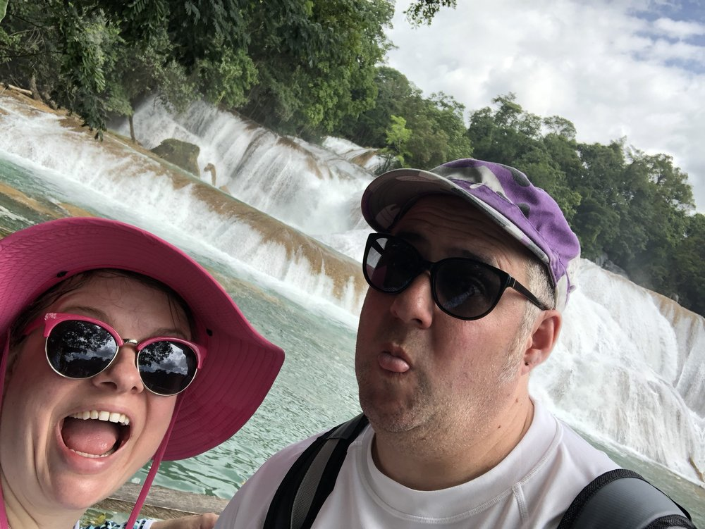 the deranged faces we made after the very very long ride to Agua Azul
