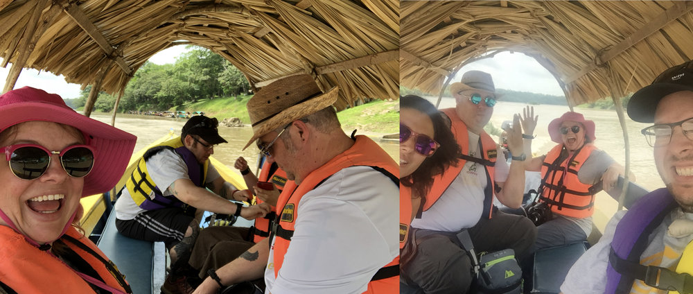 on a boat on the Usumacinta river, one side is Mexico, the other is Guatemala