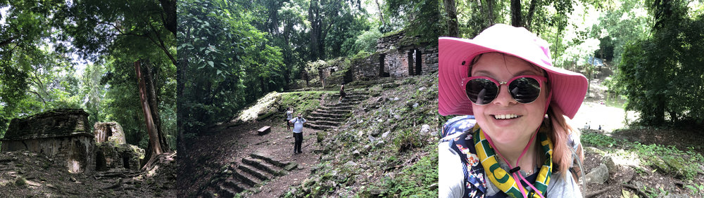 exploring Yaxchilan: one of the buildings; making our way up to the temple; halfway up the hill; the whole time you're there you hear the roar of monkeys