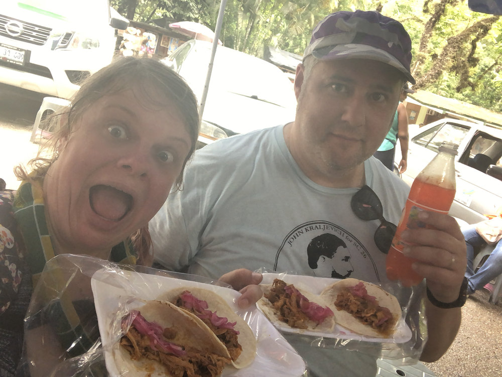 parking lot tacos at Palenque; guess which one of us skipped the last few climbs and sat in the air conditioned car? Hint: it's the one of us who doesn't look sweaty and crazy. 5 tacos, 3 drinks, $120 pesos, or about $6 USD