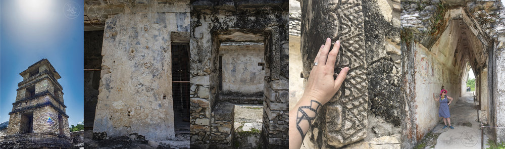 The tower at Palenque; original paint and flower designs still visible; a doorway; details; hanging out on top of one of the buildings - they're SO big!