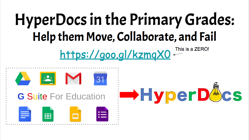 HyperDocs in the Primary Grades: Help Them Move, Collaborate, and Fail    Come to this session if you want to seriously transform from gatekeeper to facilitator! HyperDocs have transformed my classroom in the last year and I want to share with you how it all happened! This session is all about the steps I take to create an opportunity for primary kids to create, collaborate, communicate, and sharpen their critical thinking skills TOGETHER!