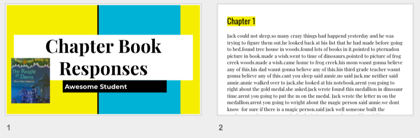 Student Chapter Book Reflection - Christina has students in her class who can read chapter books. Therefore, she uses Google Classroom to push out this reflection template to have those students reflect/retell each chapter to check on comprehension. Click THIS LINK to get your own copy of this template for you to share with your students for reflection.