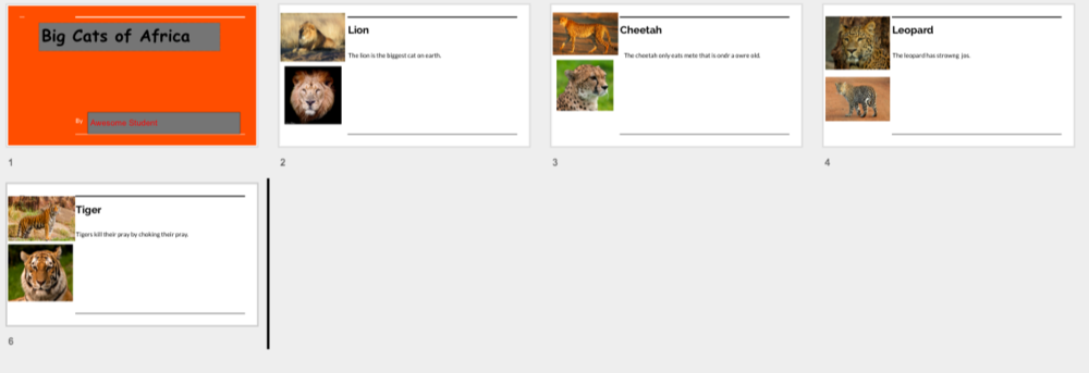 Research Project - Check out this student's Google Slides publishing skills! After researching big cats, this kiddo showed their edtech skills by creating a slide show in G Suite! Click HERE for a copy of this to use as a template for your kids. Thanks, Christina!
