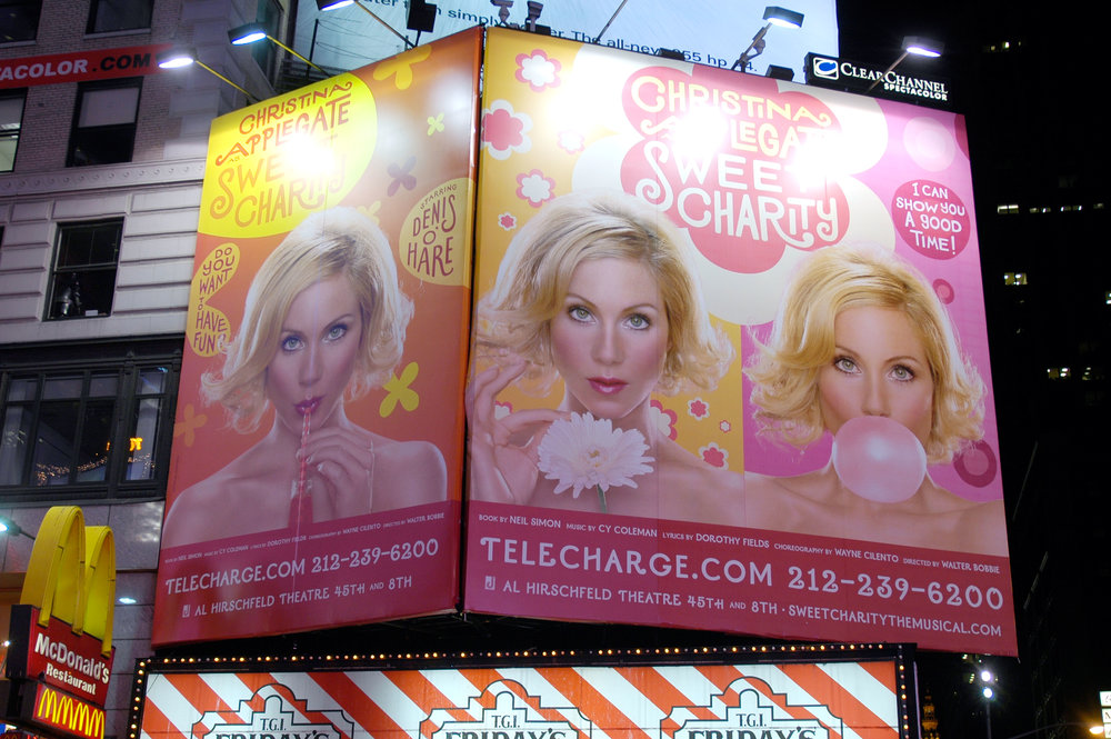 Sweet Charity posters in Times Square, New York City.