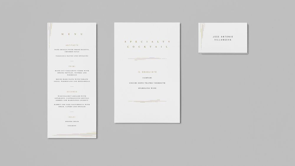 Printed collateral: Menu, Specialty Cocktail and Name Cards.