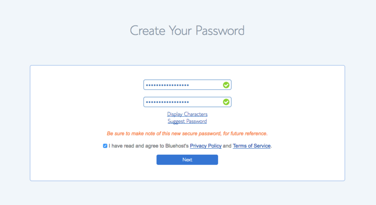Bluehost Password page.png