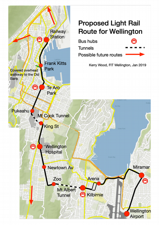 Proposed light rail route from the airport to the railway station