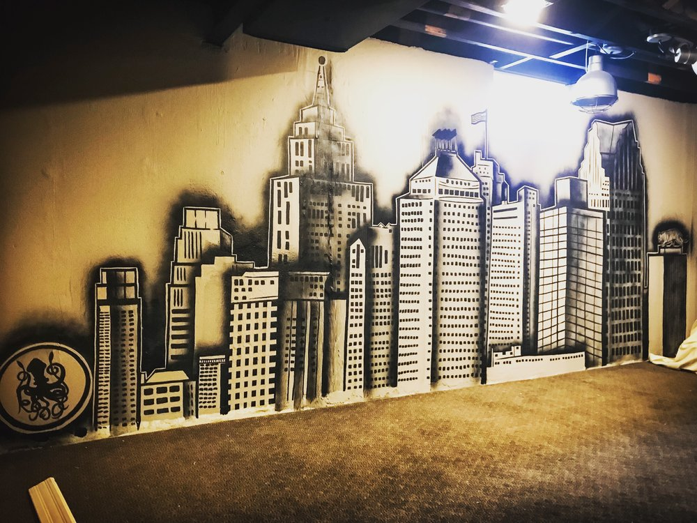 DETROIT CUSTOM SKYLINE FOR @DMGRAHAM86 FINISHED BASEMENT. APRIL 4 2018 17ft x 7ft.