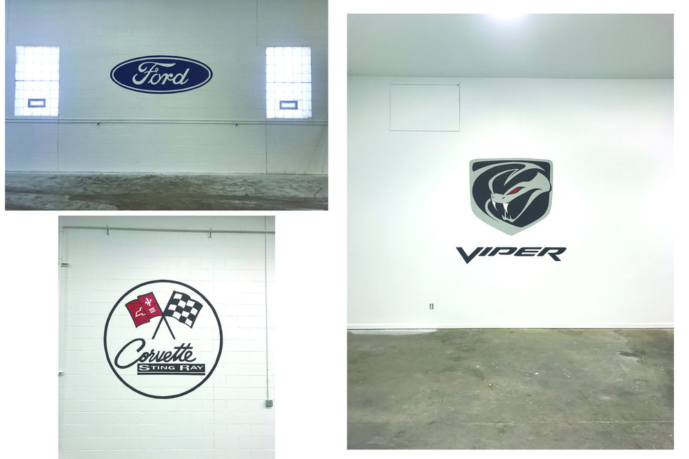 PRIVATE GARAGE CAR LOGOS - CLINTON TWP. MI. 1-31-2019 ENAMEL ON BRICK OR DRYWALL