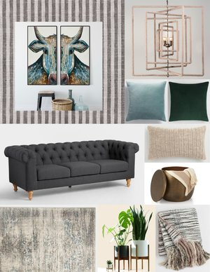 Bright Eyes Artwork - Copper Corners Ticking Wallpaper - Copper Corners Square Rope Chandelier - Copper