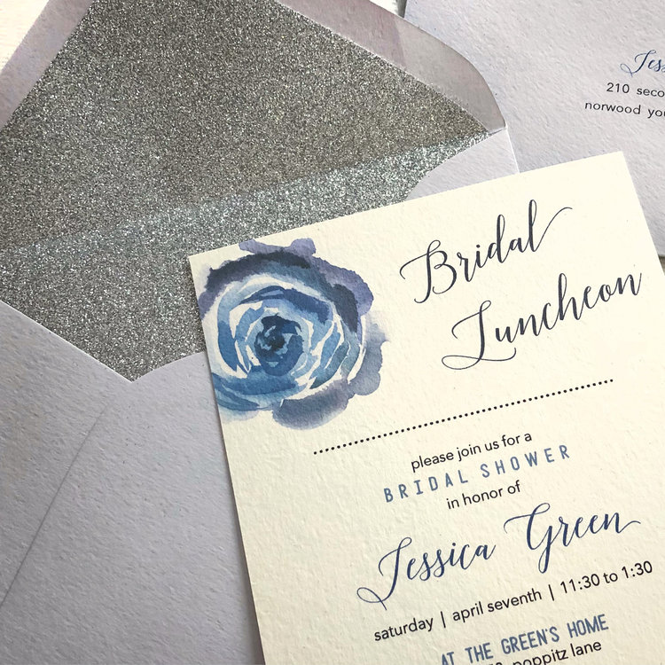 blue floral watercolor bridal luncheon invites copper carbon