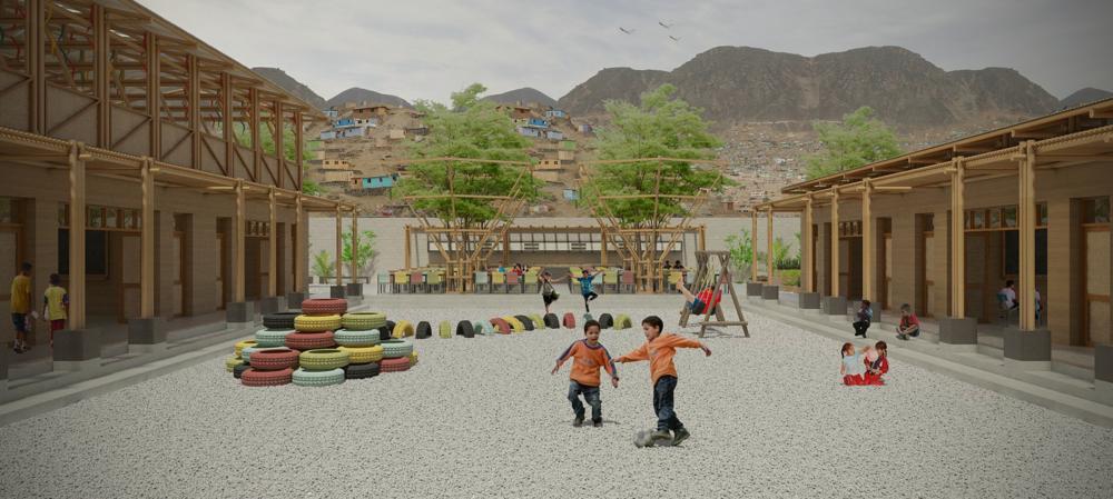3d Impressie van de te bouwen basisschool