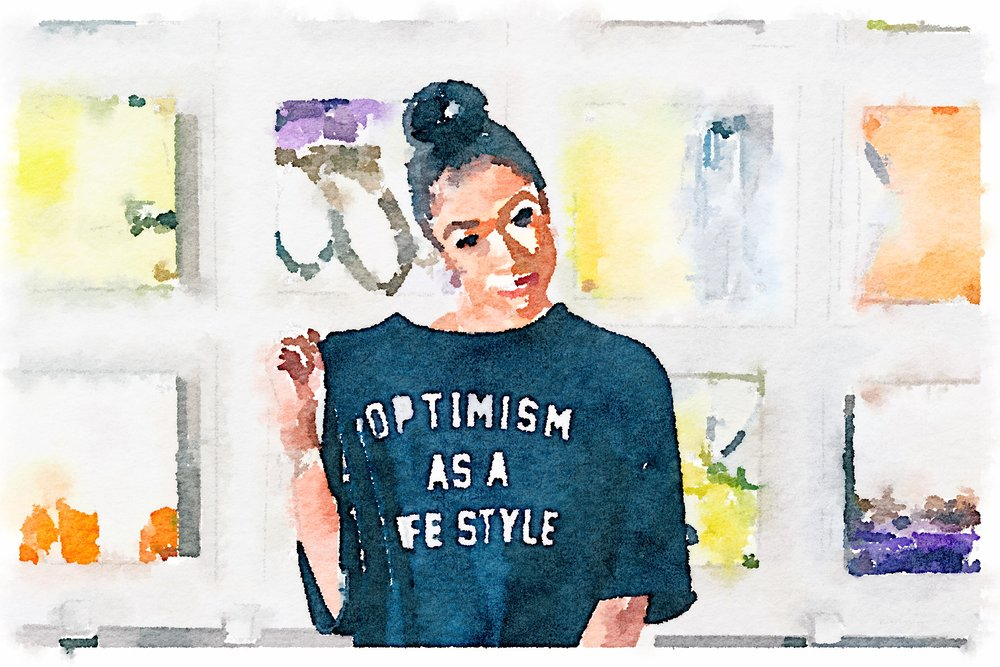 "Image of me from our, The Art of Yessss event, rocking one of my favorite mottos ""Optimism as a lifestyle""."