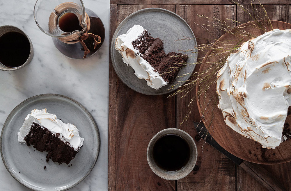 rum chocolate cake with toasted meringue