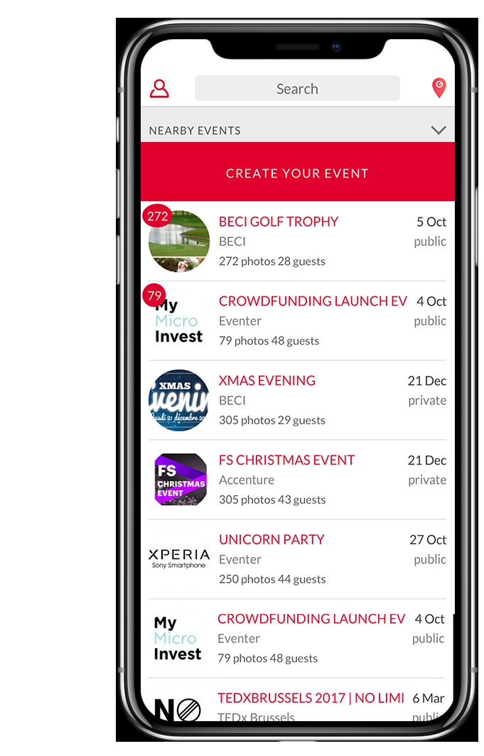 une application - Ils ont créé cette solution. Une application appelée EVENTER. Avec celle-ci, n'importe qui peut facilement créer un événement et retrouver toutes les photos de l'événement.