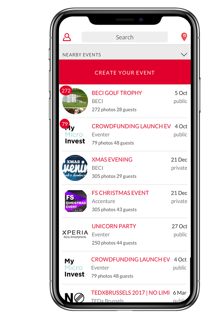 an app - They created that solution. A free app called EVENTER. With it, anyone can easily create their event and find all the picture of an event.