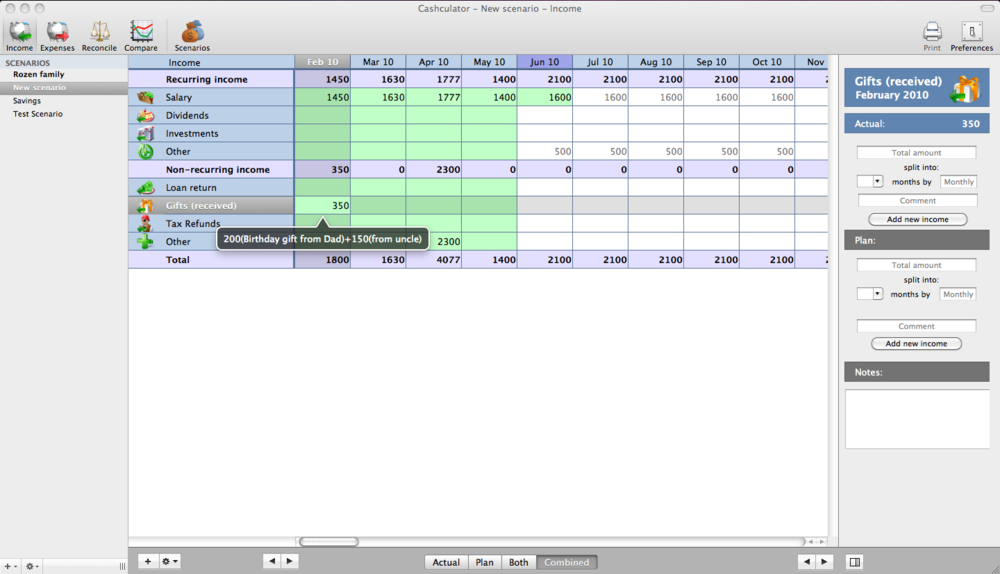 Cashculator Income View - SAC student discount.png