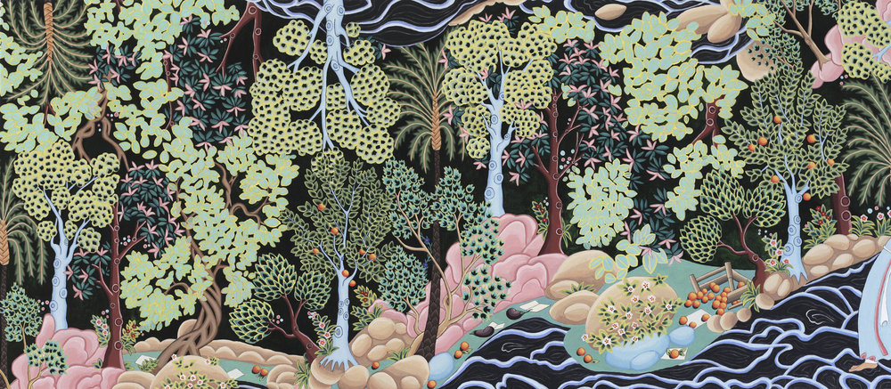 """Land of Darkness (Al-Khidr),"" handmade egg tempera on panel, 55 x 125 cm, 2018."