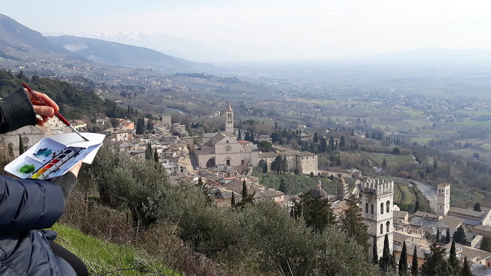 The medieval city of Assisi, Italy, where our handmade paint is made.