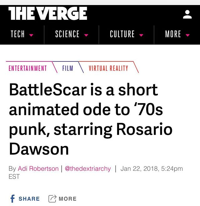 Thank you @thedextriarchy for your coverage of BattleScar in The Verge! #battlescar #sundance #theverge