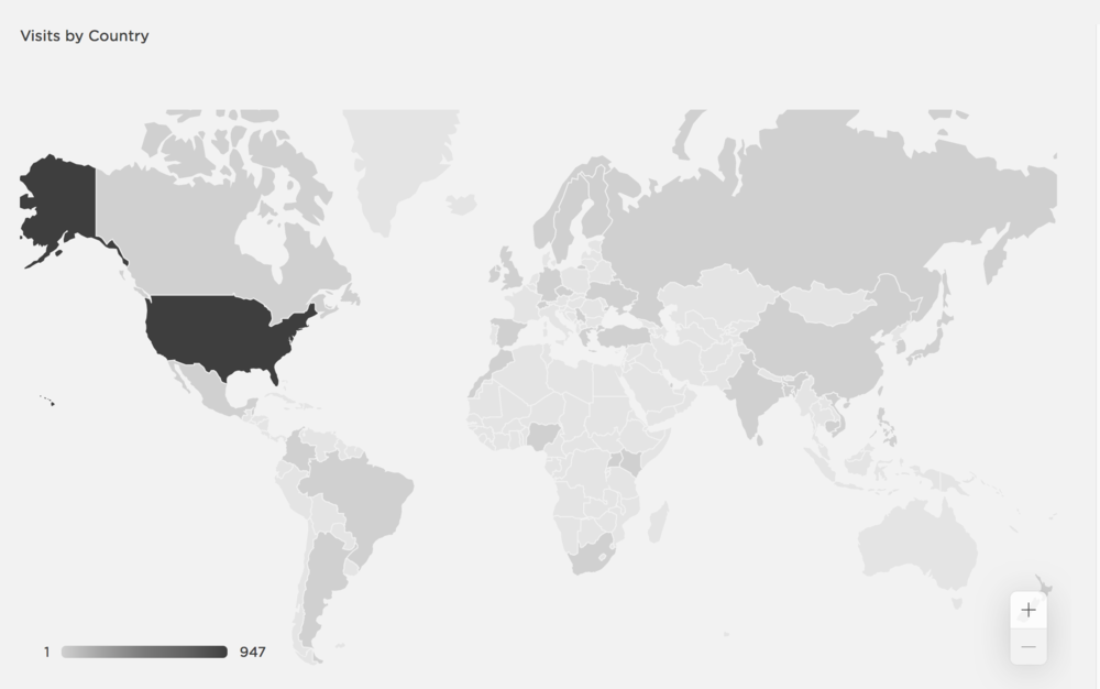 Shaded countries are home to web-surfers who have visited Yardbio.com.