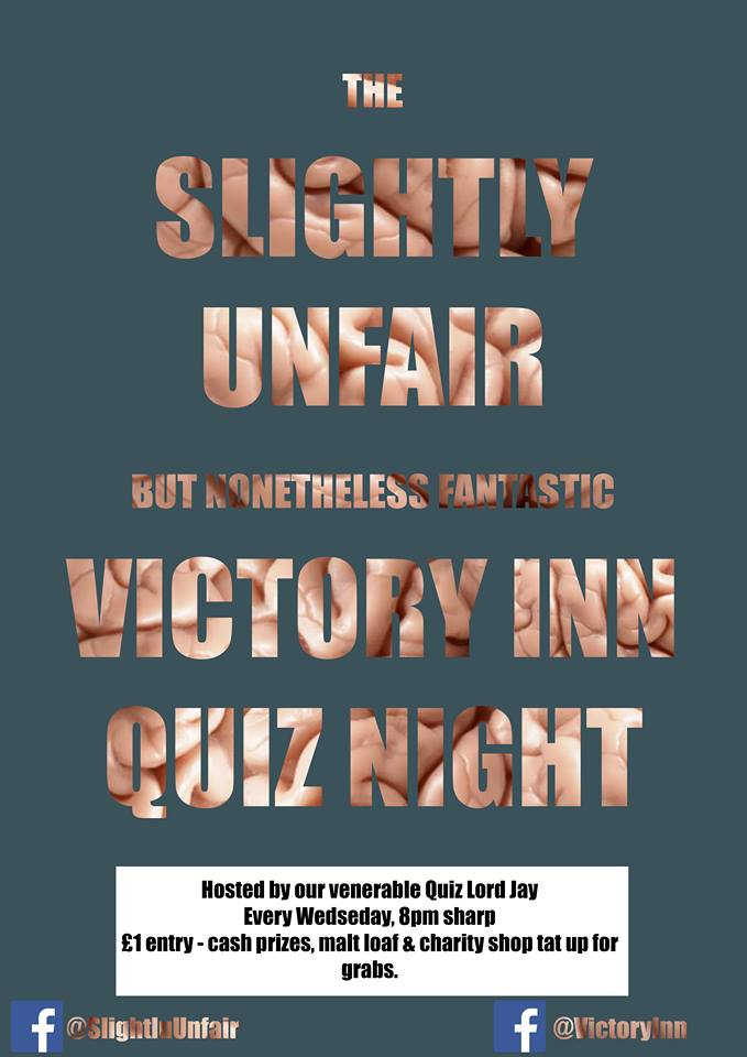 WEDNESDAY WEEKLY QUIZ - The slightly unfair but nonetheless fantastic weekly quiz at the Victory Inn. Promo prices for all participants!