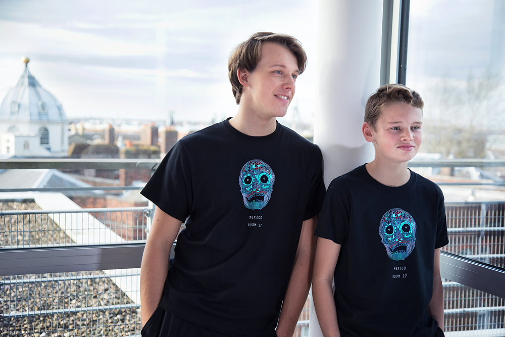 Mosaic Skull Kids   The kids version of the Mosaic Skull design is great for pairing with the adult version. Prices from £15.  Made from 100% Cotton.   Click to buy.
