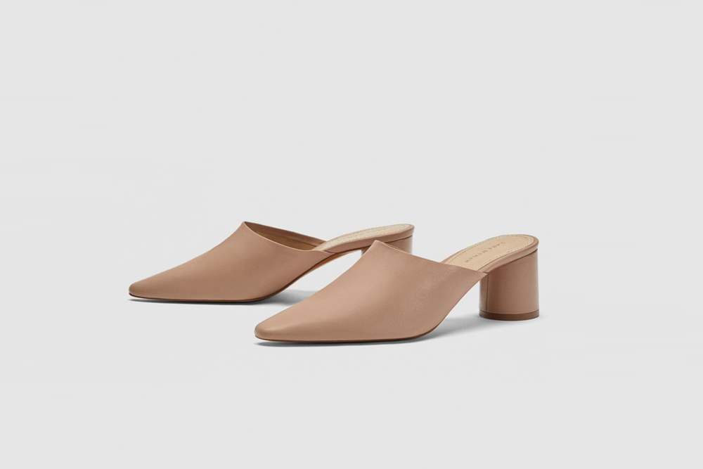 Monochrome leather mules / Zara