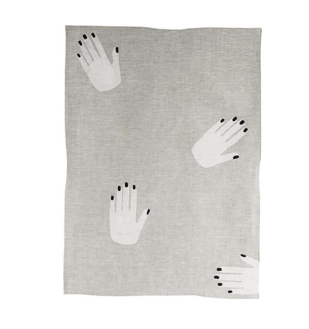 Hands off linen tea towel by  Fazeek