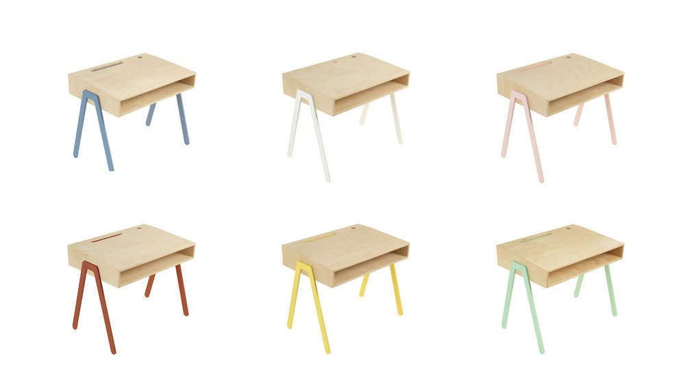 Wooden table a with pastel details in many colors by  in2wood .