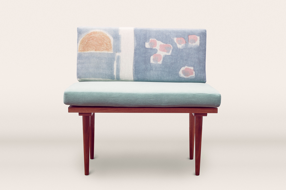 The comfy Blue Graphic Chair by  The Collection Studio .