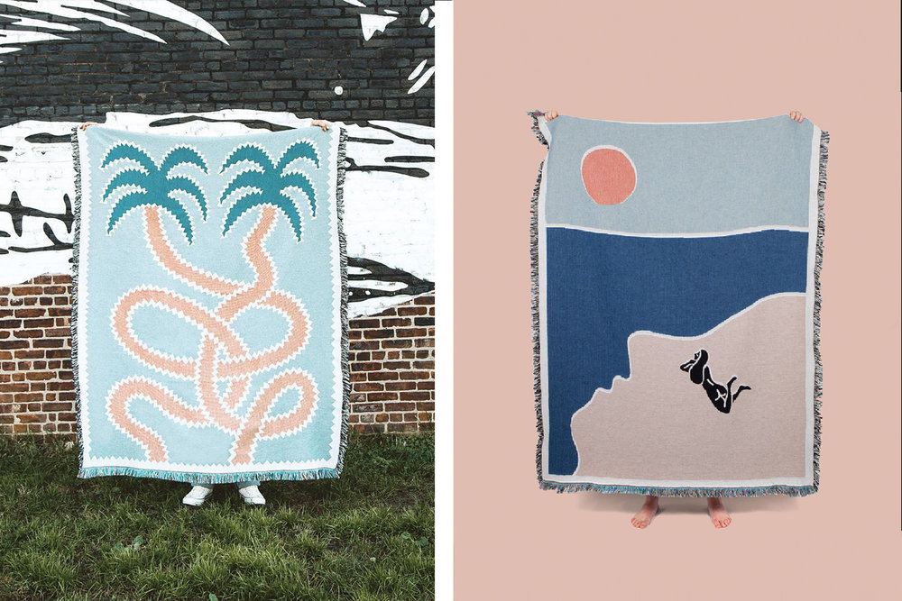 Some artist-designed woven blankets by  Slowdown  .