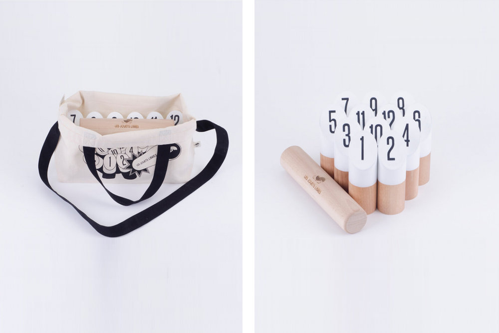 Minimalistic MOLKKY game designed by  Les Jouets Libres .