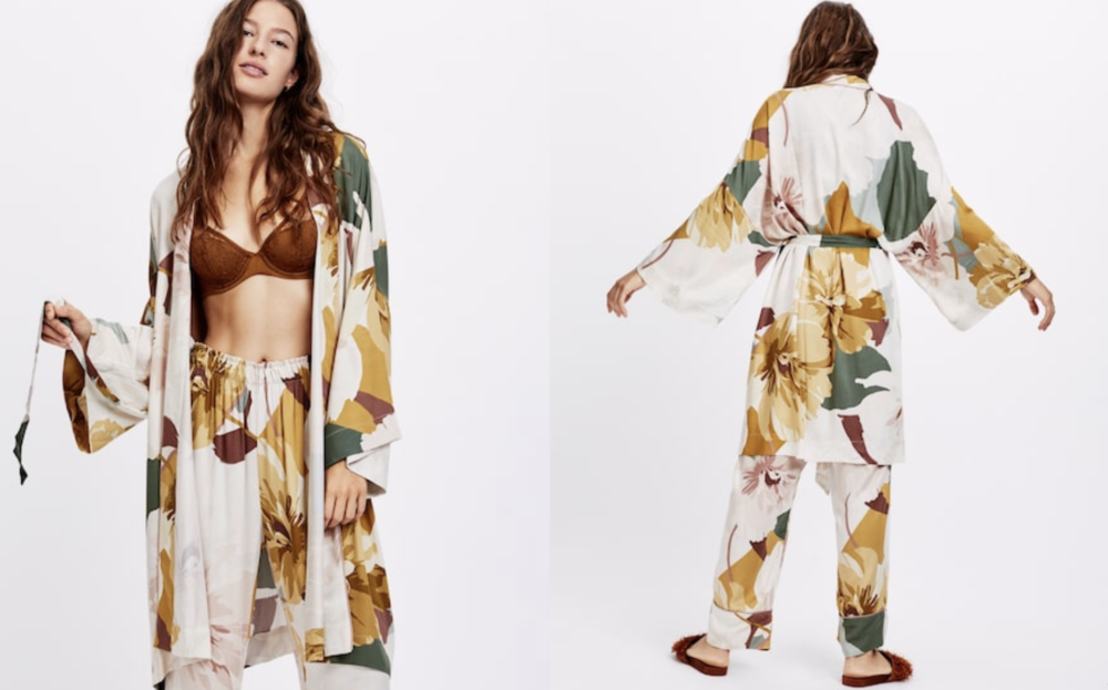 Block Floral Dressing Gown  - Official picture