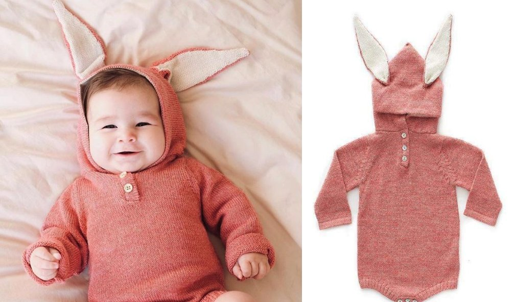 Bunny Hooded Onesie-Rose  - Pictures by  Li Furtado  and Oeuf