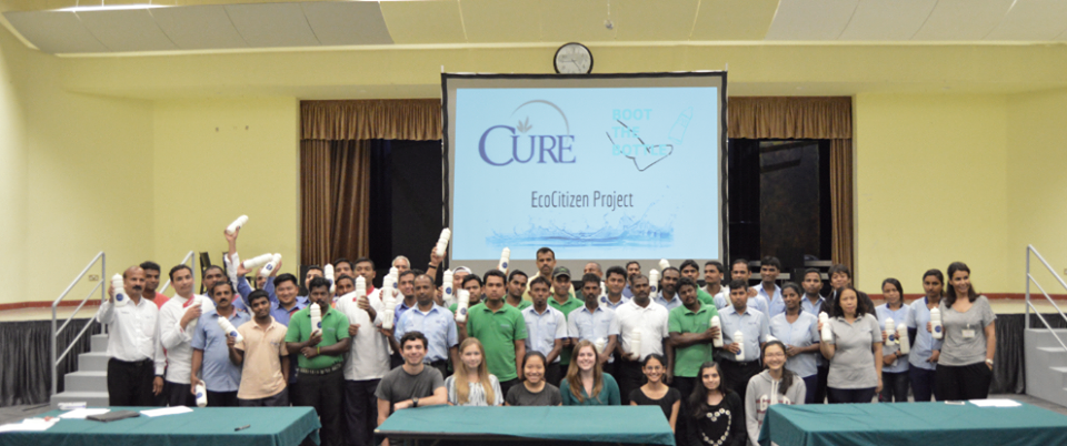 School Service Staff - We hosted an Eco-Citizen Water Project event at the American Community School of Abu Dhabi. After delivering an Eco-Citizen workshop to 40 campus workers in both English and Hindi, they distributed reusable bottles to every person.The bottles were sponsored by The Cure.