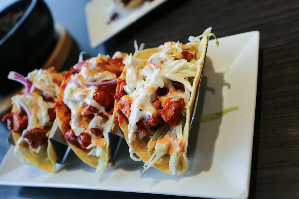 Korean Tacos with Spicy Fried Chicken