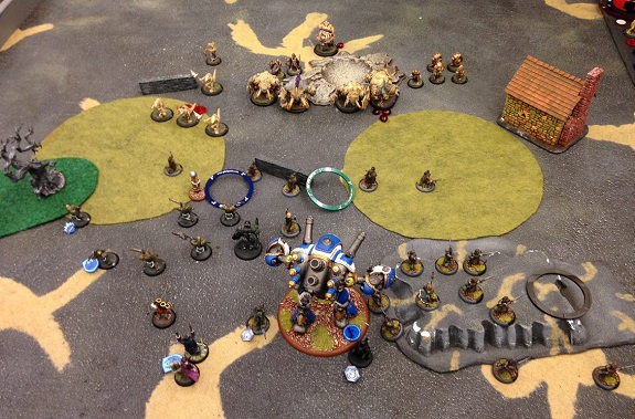 Turn 1 - Cygnar (end of round 1 perspective)