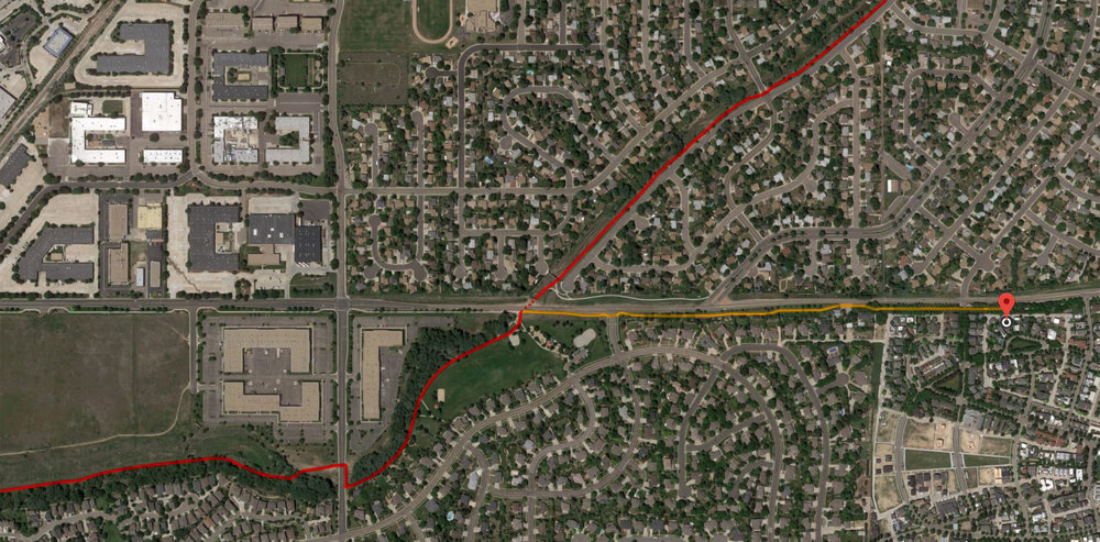 Longmont Biking & Running Paths:  Go west on the sidewalk  (above in yellow) , then pick-up the main St. Vrain Creek Greenway Trail  (above in red)  heading either north-east or south-west