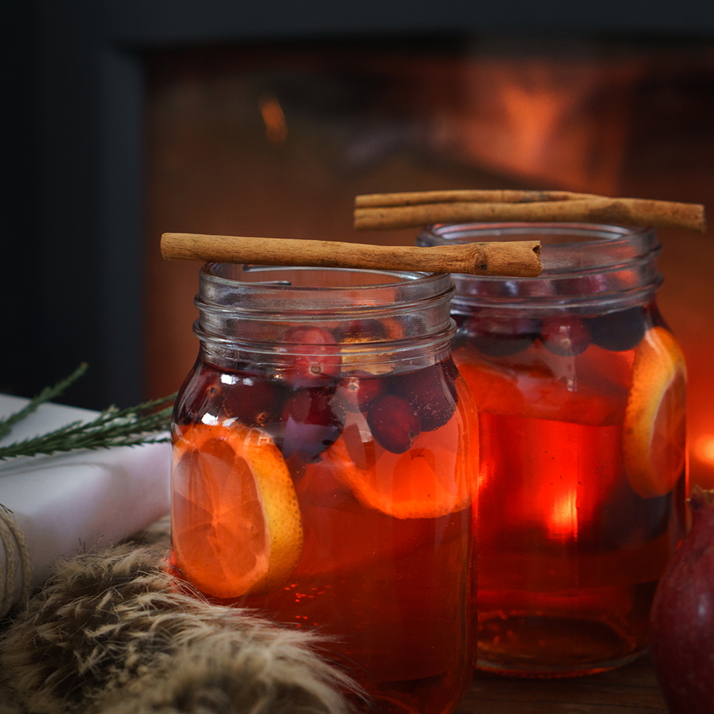 mulled wine by firelight