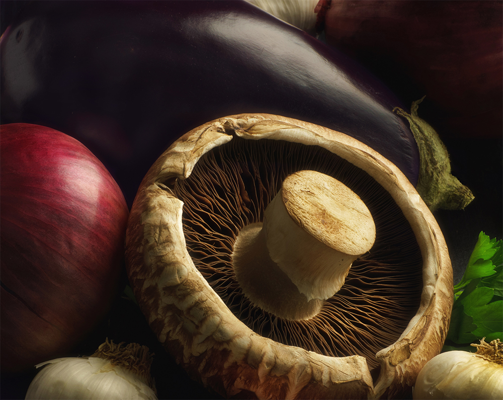 portobello with eggplant and red onion