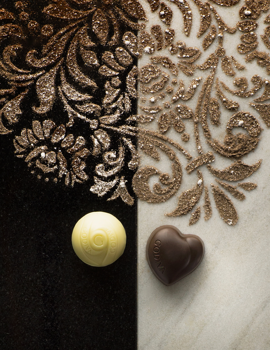 chocolate truffles on marble